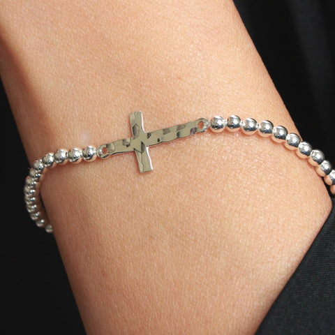 Charleston Sterling Silver Cross Stretch Bracelet