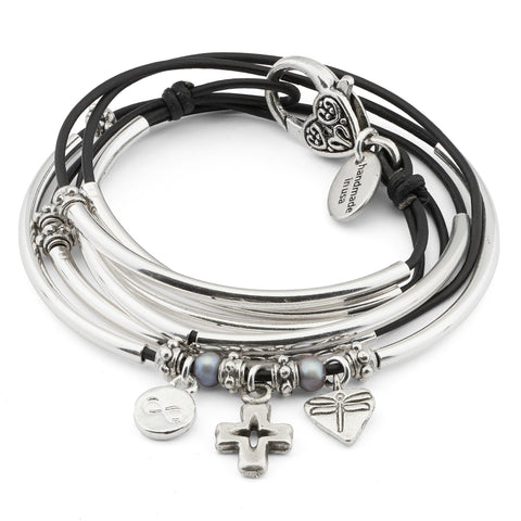 Charmer w Infinite Faith charm trio leather wrap bracelet-necklace in Natural Black leather, comes as shown