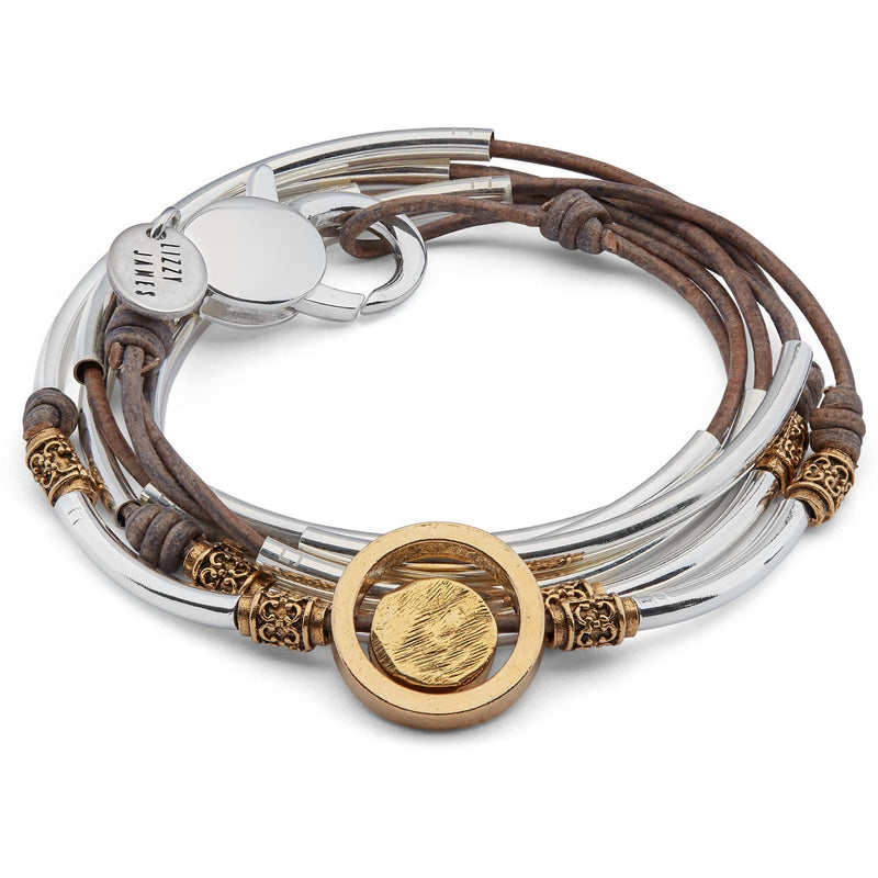 Cielo Mixed Metal Circle Bracelet or Necklace