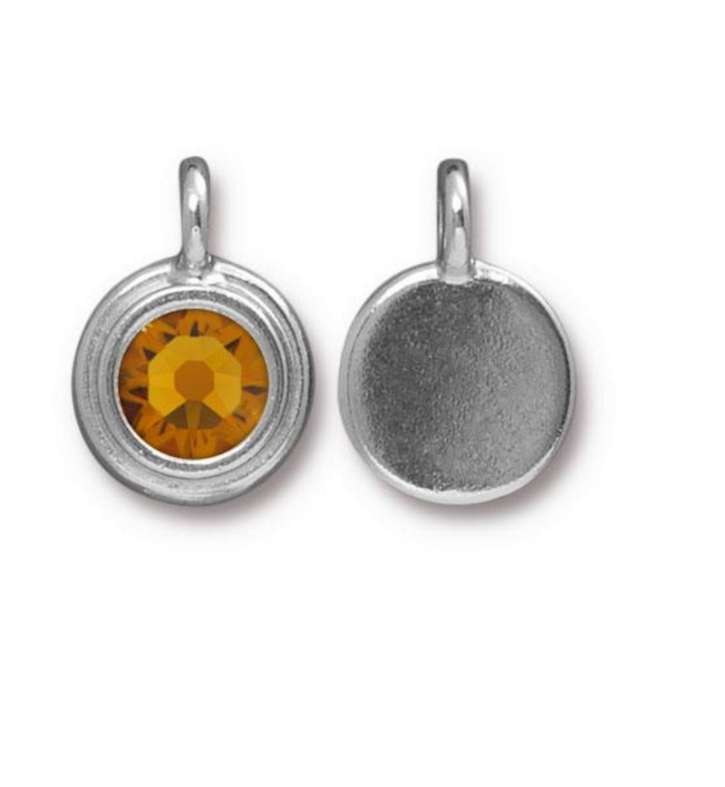 November Birthstone Citrine Yellow Swarovski Crystal Charm - Silver