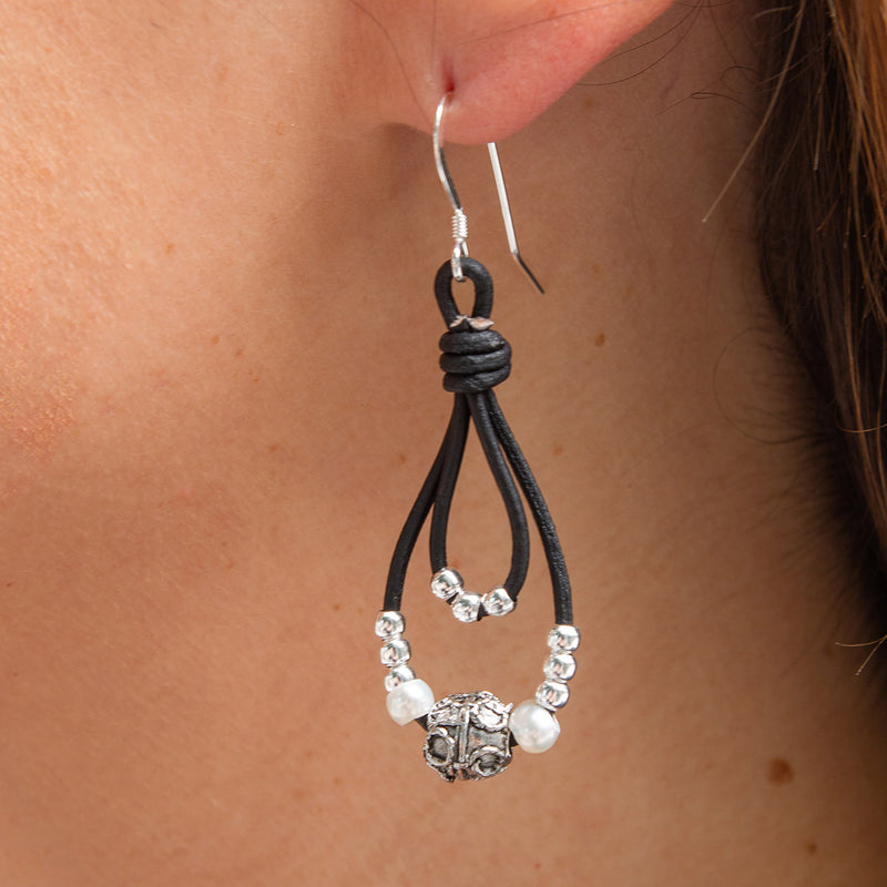 Clara Leather Earrings with Freshwater Pearls