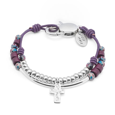 Contessa with Cross Charm in metallic berry leather comes as shown