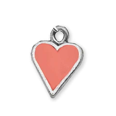 Hand Painted enamel Coral Heart charm