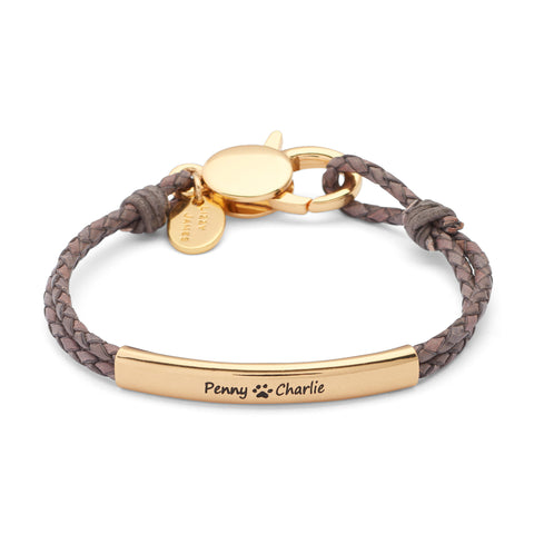 Creations Engravable Bracelet - Goldplate shown in natural brown gray leather