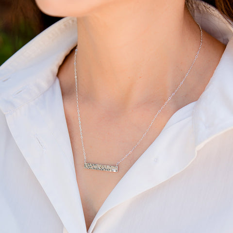 Crinkle Sterling Silver Necklace w Silver Bar
