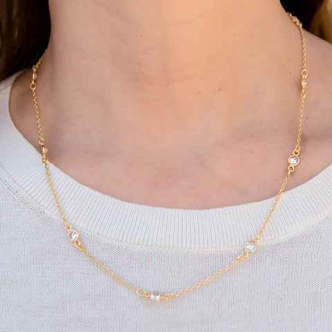 Crystal Cubic Zirconia Gold Plated Necklace
