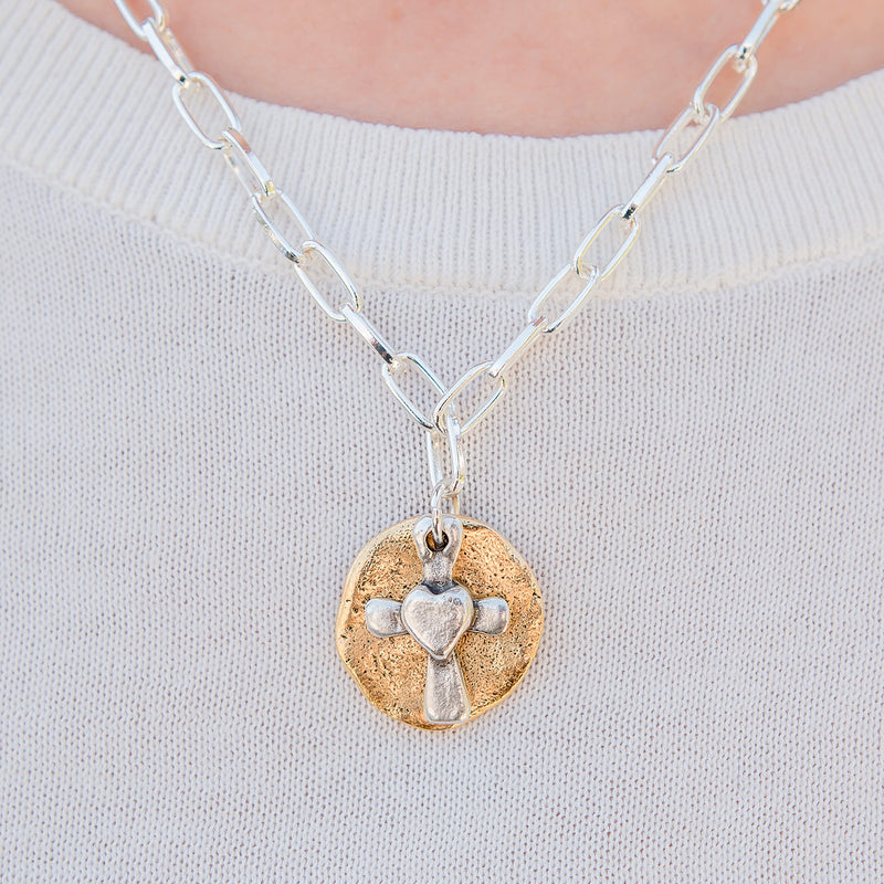Daily Luxe Silver Adjustable Necklace with Loving Cross Pendant