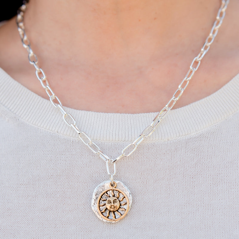 Daily Luxe Silver Adjustable Necklace with Sunshine Pendant