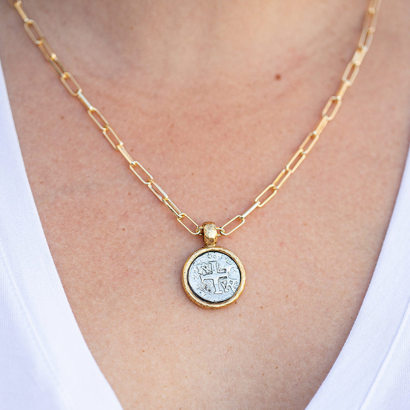 Figaro 18kt Gold Plated Necklace with Silver Cross