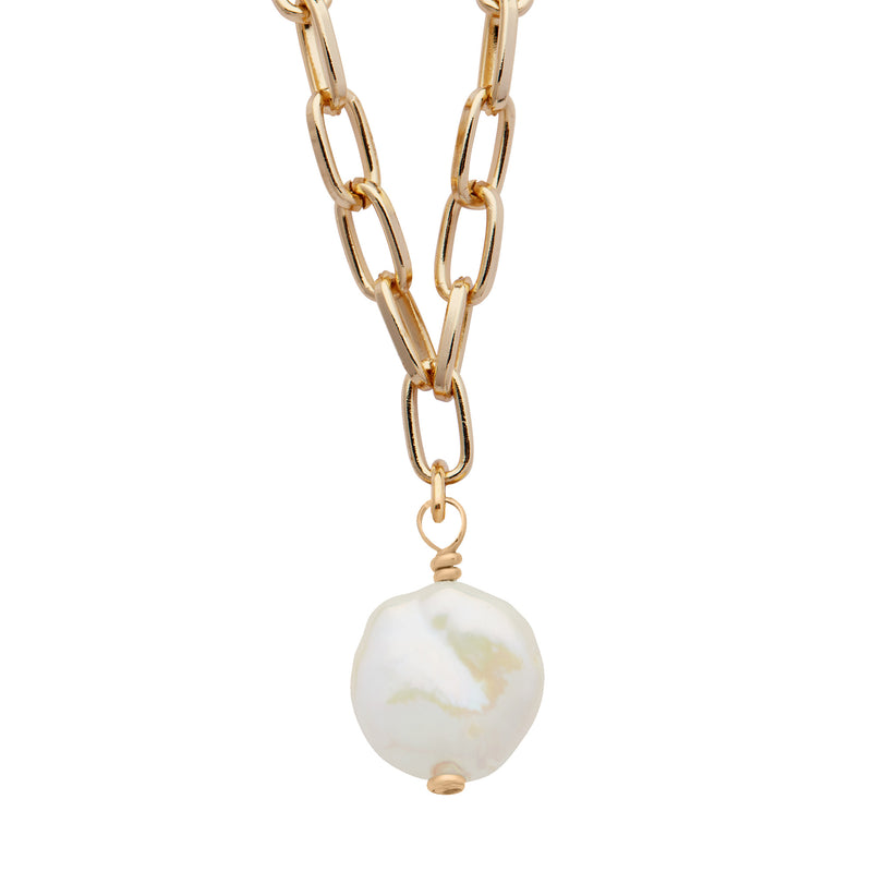 Daily Luxe 18k Gold plated Adjustable Necklace with Coin Pearl Pendant