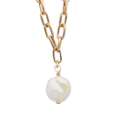 Daily Luxe Gold Adjustable Necklace with Coin Pearl Pendant