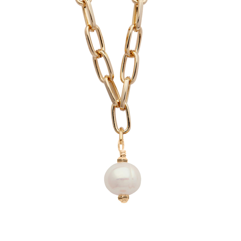 Daily Luxe 18k Gold plated Adjustable Necklace with Creamy Pearl Pendant