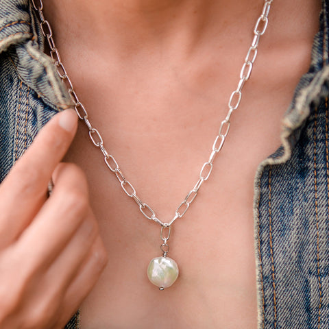 Daily Luxe Silver Adjustable Necklace with Coin Pearl Pendant