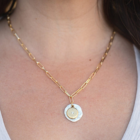 Daily Luxe Gold Necklace with Mixed Metal Gem Pendant