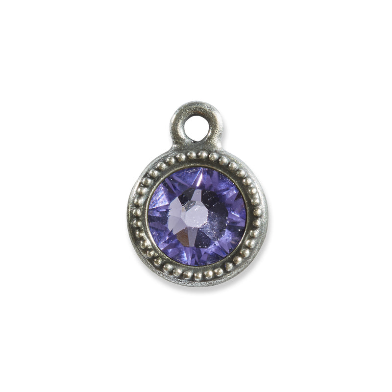 December Birthstone Purple Swarovski Crystal Charm