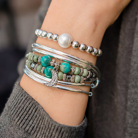 Trillium with Turquoise - with sterling silver & CZ half moon charm  silver Wrap Bracelet shown paired with the Delight sterling silver large pearl bracelet