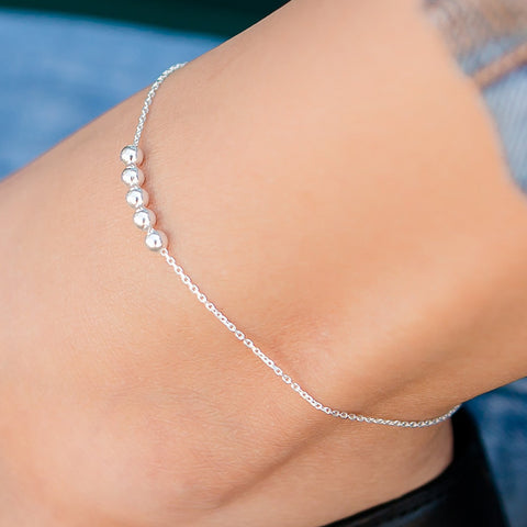 Dainty sterling silver anklet