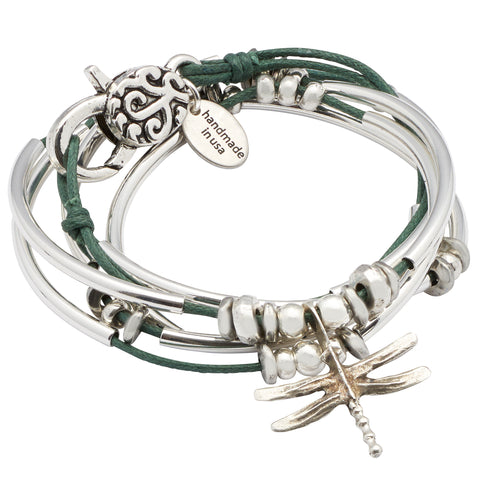 Dragonfly silverplate cotton cord wrap bracelet in Olive Green cotton color, comes as shown