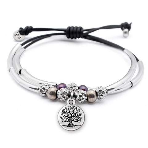 Eden Adjustable Leather and Silver Pearl Bracelet w Tree of Life Charm