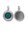 Emerald Green Crystal Charm, both sides shown
