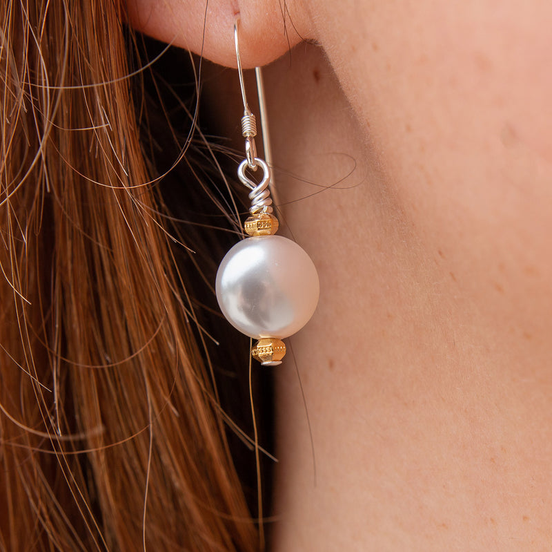 Gold Emmeline Swarovski Pearl Earrings