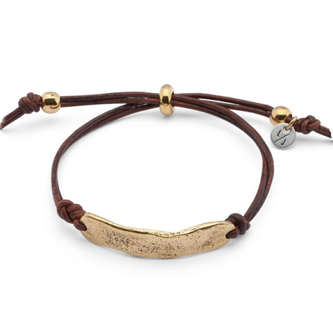 Engrave Personalized Adjustable Gold Bracelet in natural antique brown leather