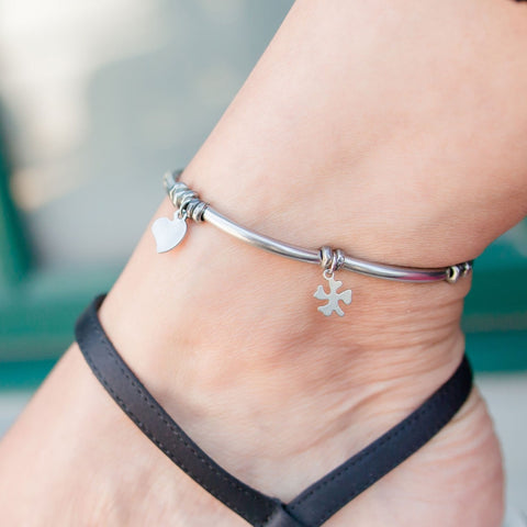 Erin Anklet in Stainless Steel with Clover Heart and Cross Charms