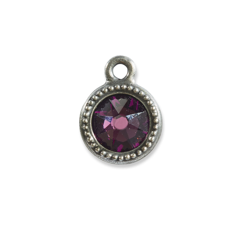 February Birthstone Purple Swarovski Crystal Charm