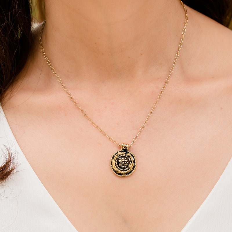 Flora Gold plate Medallion Necklace