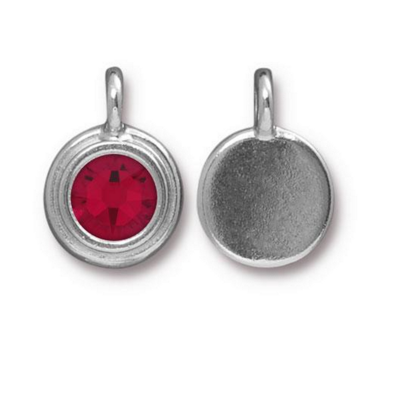 January Birthstone Garnet Red Swarovski Crystal Charm - Silver