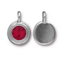 Garnet Red Crystal charm, both sides shown