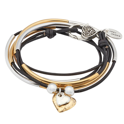 Girlfriend leather wrap bracelet Silver & Gold in Natural Black leather with large gold hammered heart & small silver hammered heart charms attached as shown.