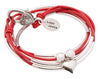 Shiny silver Heart charm as shown on the Girlfriend leather wrap bracelet in Gloss Red leather (sold separately)