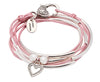 Dotted Heart charm as shown on the Girlfriend leather wrap bracelet in Metallic Pink leather (sold separately)