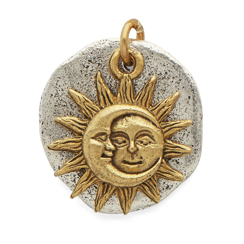 Gold Moon Sun Silver Disc Pendant