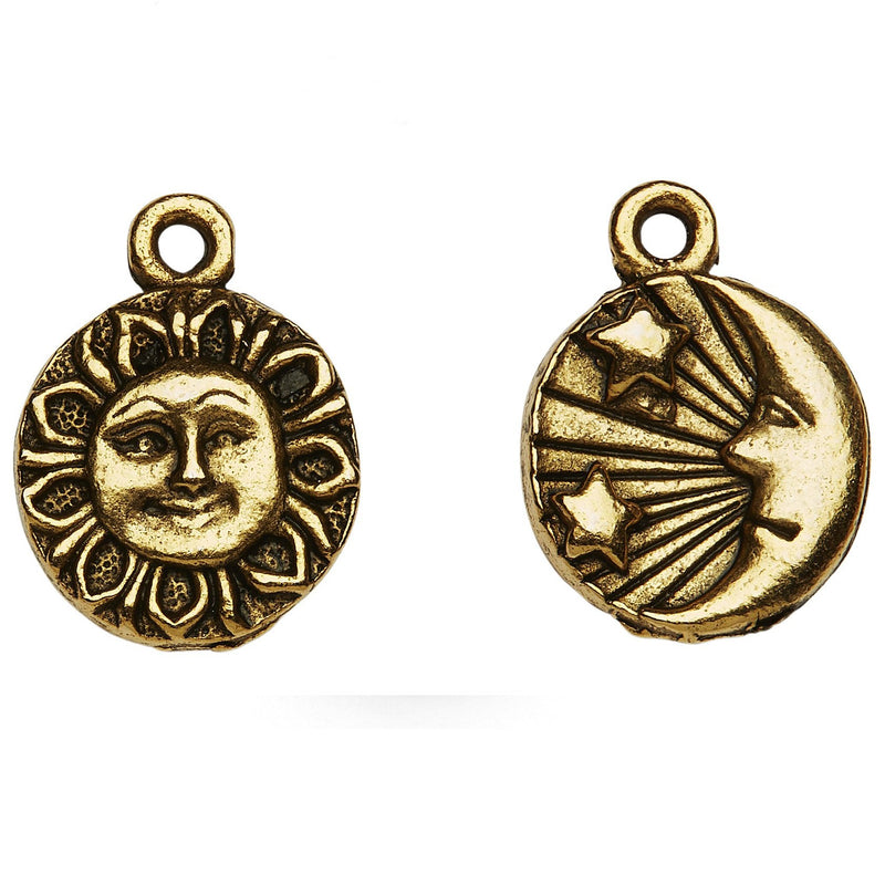 Gold Moon Sun and Stars 2 Sided Charm