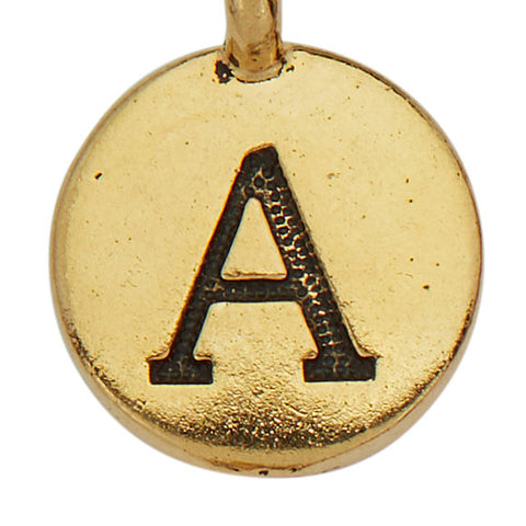 Gold Round Initial A Charm