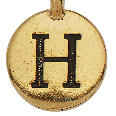 Gold Round Initial H Charm
