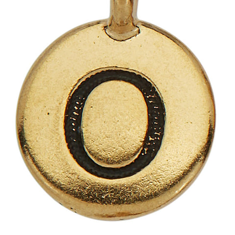 Gold Round Initial O Charm