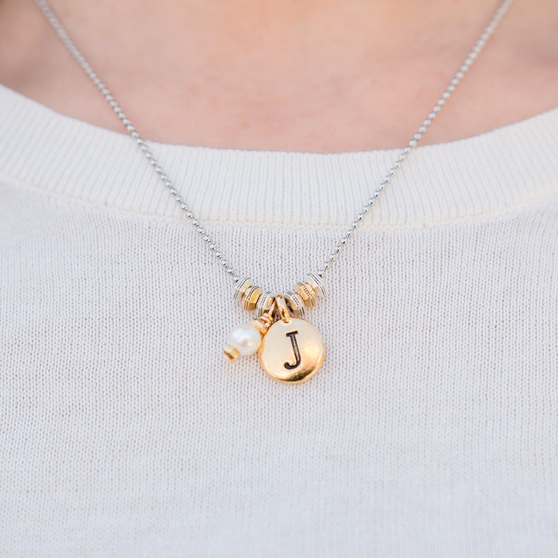 Gold Round Initial Adjustable Necklace with Freshwater Pearl