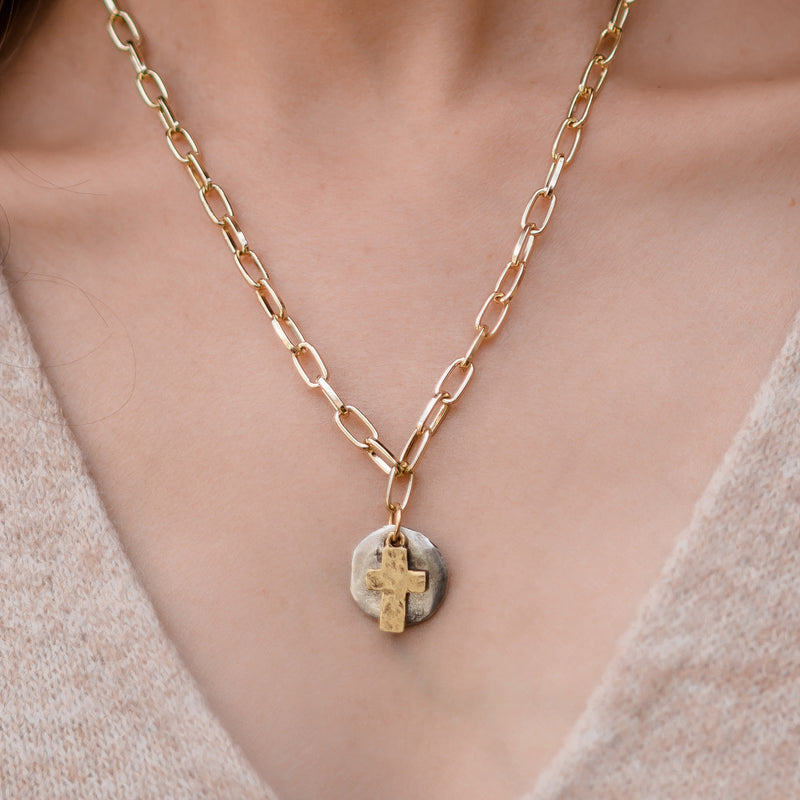 Daily Luxe 18k Gold plated Adjustable Necklace with Golden Cross Disc Pendant