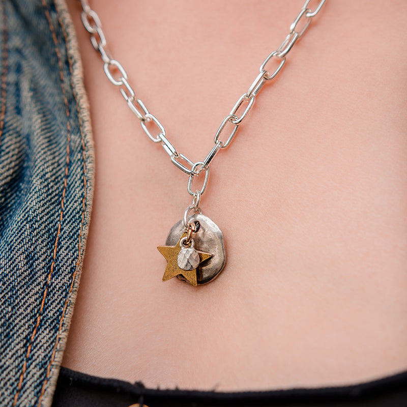 Daily Luxe Silver Adjustable Necklace with Golden Star Pendant