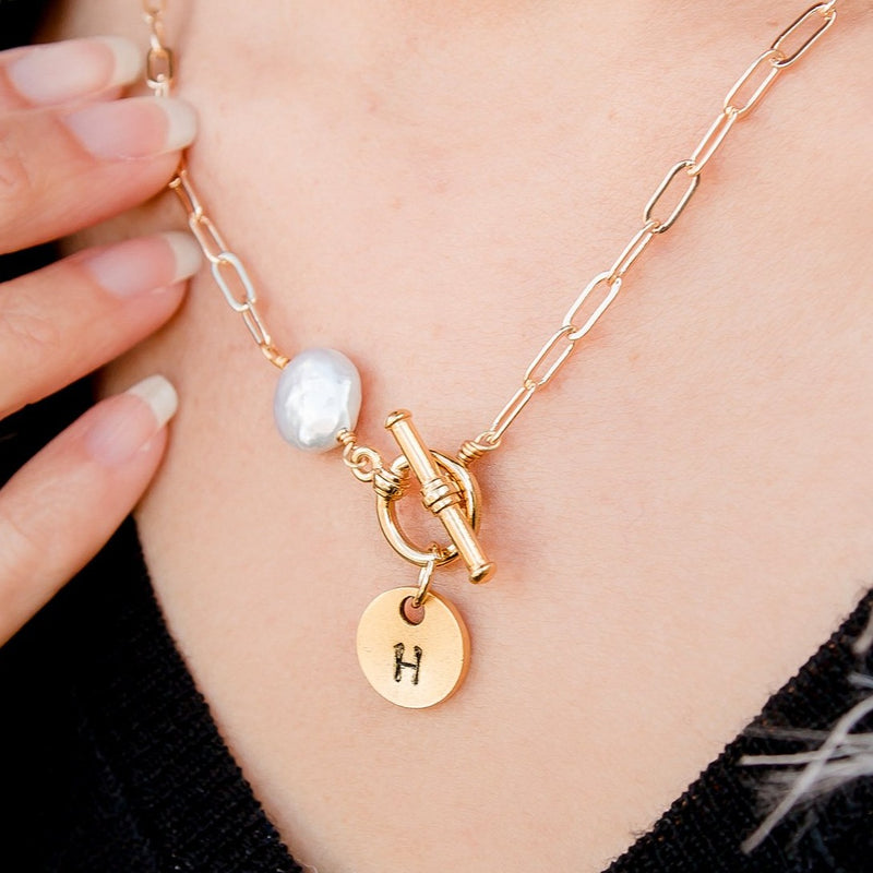 Goldsmith Gold Chain Necklace with Hand Stamped Initial and Pearl