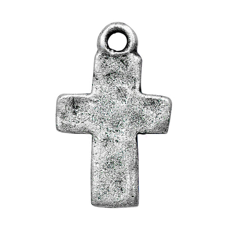Hammered Cross charm in Silver