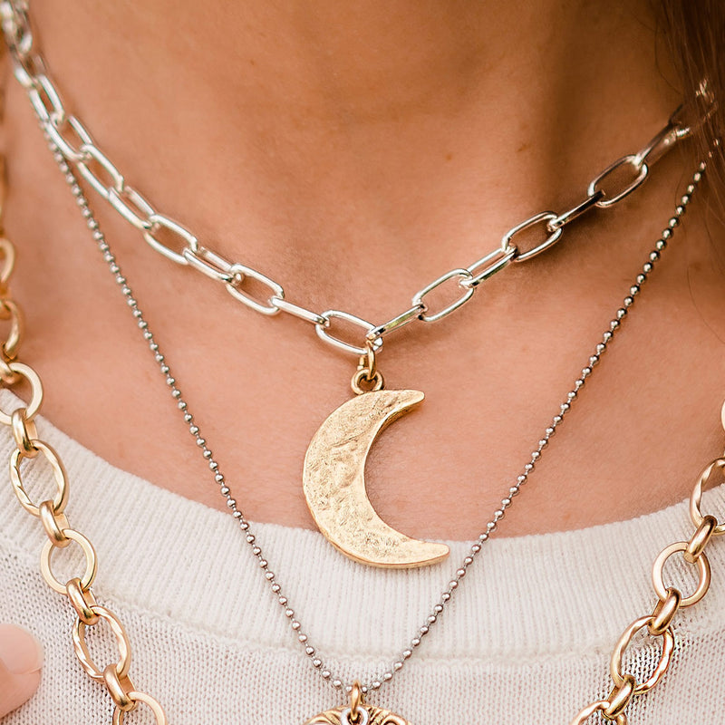 Daily Luxe Silver Adjustable Necklace with Gold Hammered Moon Pendant