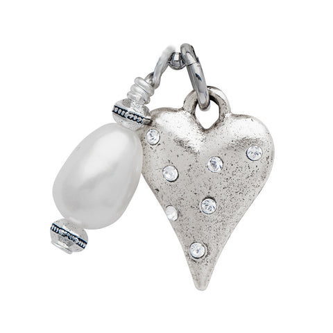 Silver CZ Encrusted Heart with Pearl Pendant