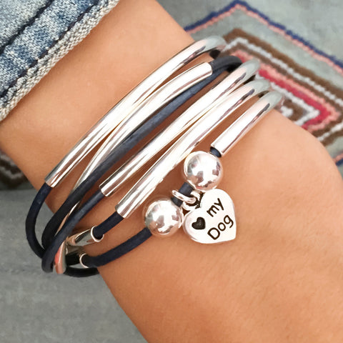 Love my dog Charm on Girlfriend 2 strand in natural true blue leather (sold separately)