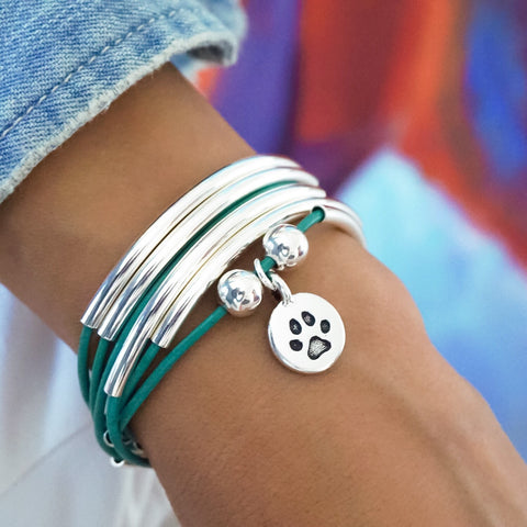 Girlfriend Wrap with Round Paw charm in Gloss Turquoise leather, comes as shown