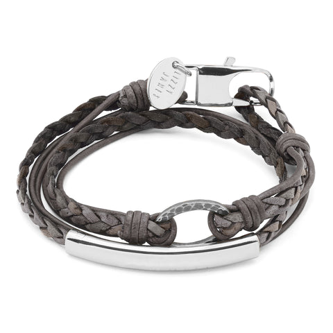 Impression Engravable Bracelet - silverplate shown in natural grey leather