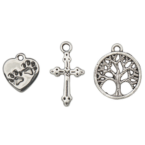 The Paw in the Family Charm Trio  paws on heart charm, ornate cross and tree of life charms